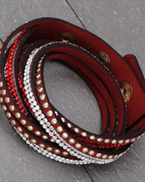 pulsera cuero roja