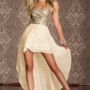 vestido de fiesta dorado o negro palabra de honor corto y largo gasa