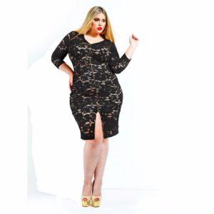 Vestido ajustado encaje transparencias negro