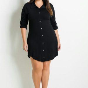 vestido camisa negro botones y cinturón