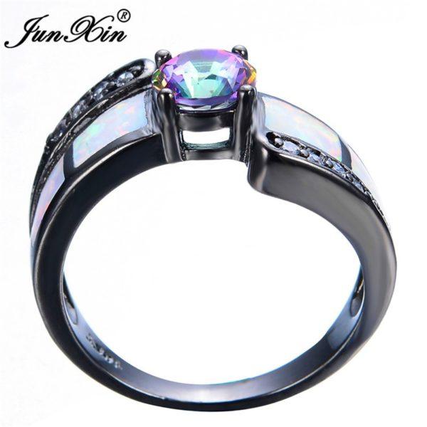 anillo fuego de cirzón oro negro
