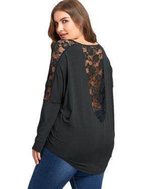 Camisola blusa larga con encaje espalda talla grande