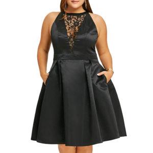 vestido raso negro fiesta y encaje