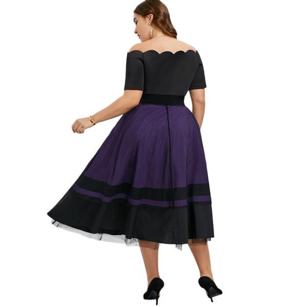 vestido vintage negro y morado