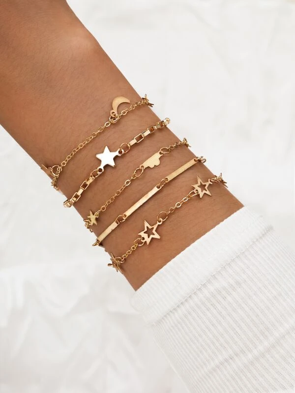 Pulsera Estrella Luna dorada